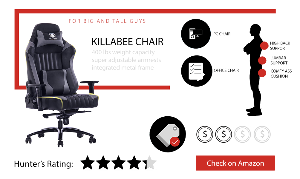 killabee big and tall gaming chair review 400 lbs capacity. Black Bedroom Furniture Sets. Home Design Ideas