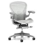 white aeron miller chair with synchronized tilt